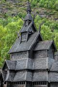 Borgund stave church. built in 1180 to 1250, and dedicated to the apostle st. Stock Photos