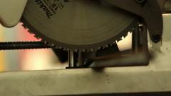 Man working cutting iron circular disk machine, making sparks Industrial work - stock footage