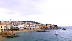 Mediterranean picturesque fishing village time lapse Stock Footage