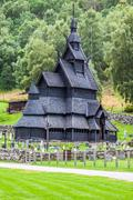 Stock Photo of borgund stave church. built in 1180 to 1250, and dedicated to the apostle st.