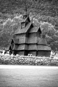 borgund stave church. built in 1180 to 1250, and dedicated to the apostle st. - stock photo
