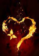 Burning heart - stock illustration