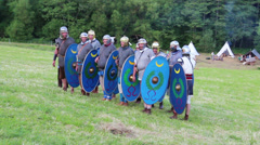 Roman soldier are passing by Stock Footage
