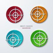 Vector aim icons set on sample background Stock Illustration