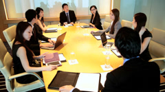 Smart City Asian Chinese Businessmen Businesswomen Conference Room - stock footage