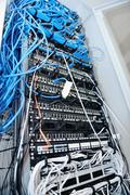 network server room routers - stock photo