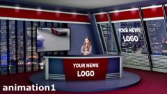 Virtual News Studio 3D Set Stock After Effects