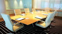 Modern City Boardroom Meeting Hub Table Chairs Indoors No People Stock Footage