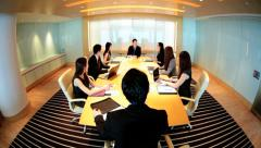 City Boardroom Asian Chinese Business Finance Teamwork Meeting Stock Footage