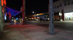 Miami Beach Sidewalk at Night Stock Footage