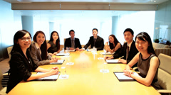 Video Uplink Conference Meeting Young Asian Chinese Corporate Business Team Stock Footage