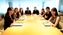 Asian Chinese American Business Executives Colleagues Video Boardroom Meeting - stock footage