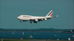 Air France airplane landing slow motion Stock Footage