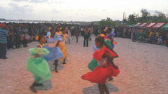 Traditional dancers at caribbean carnival Stock Footage