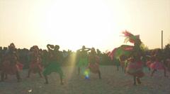 Caribbean dancers at caribbean carnival Stock Footage
