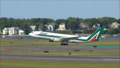 Alitalia Airlines plane takeoff, slow motion Stock Footage