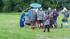 Roman soldier making a shield wall Stock Footage