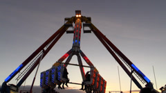 Carousel. Adrenaline amusement park - stock footage