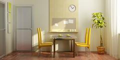 Modern dining-room interior Stock Photos