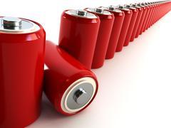Row of batteries Stock Photos
