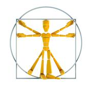 symbolic man inscribed into circle and square - stock photo