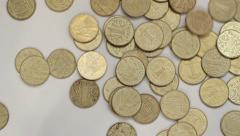 Ukrainian coins Stock Footage