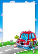 Frame with cartoon car wash Piirros