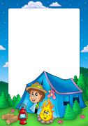 Frame with camping scout - stock illustration