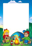 Frame with camping kids - stock illustration
