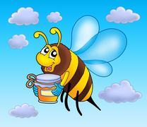 Flying bee holding honey Piirros
