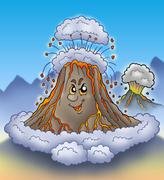 Stock Illustration of Erupting cartoon volcano