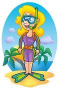 Girl snorkel diver on beach - stock illustration
