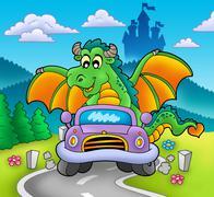 Green dragon driving car Piirros