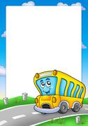 Frame with yellow school bus Stock Illustration