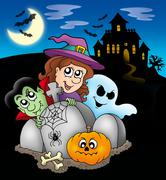 Halloween characters before mansion Stock Illustration