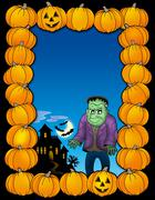 Halloween frame with Frankenstein - stock illustration