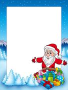 Frame with Santa and pile of gifts Stock Illustration