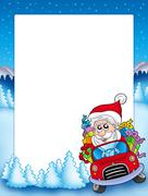 Frame with Santa Claus driving car - stock illustration