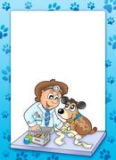 Frame with sick dog at veterinarian - stock illustration