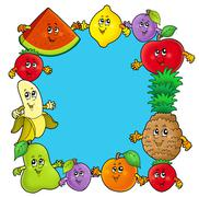 Stock Illustration of Frame with various cartoon fruits