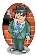 Cartoon gangster with wall - stock illustration