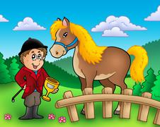 Cartoon jockey with horse Stock Illustration