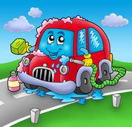 Cartoon car wash on road Piirros