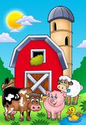 Big red barn with farm animals Stock Illustration