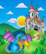 Big blue dragon with medieval castle - stock illustration