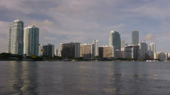 Downtown Miami Panorama With Calm Water Stock Footage