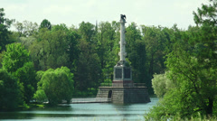 Chesme column. Pushkin. Catherine Park. Tsarskoye Selo. 4K. Stock Footage