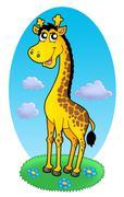 Cute giraffe standing on grass Stock Illustration