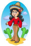 Cute Mexican girl in desert - stock illustration