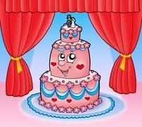 Cartoon wedding cake with curtains - stock illustration